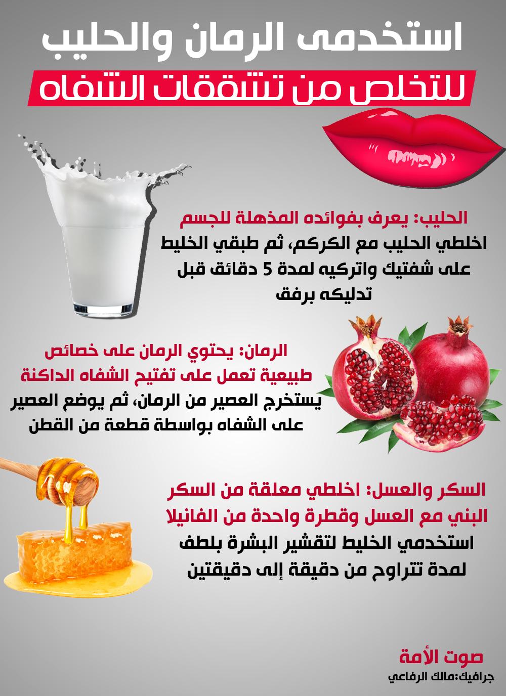استخدمى الرمان والحليب للتخلص من تشققات الشفاه فى فصل الشتاء