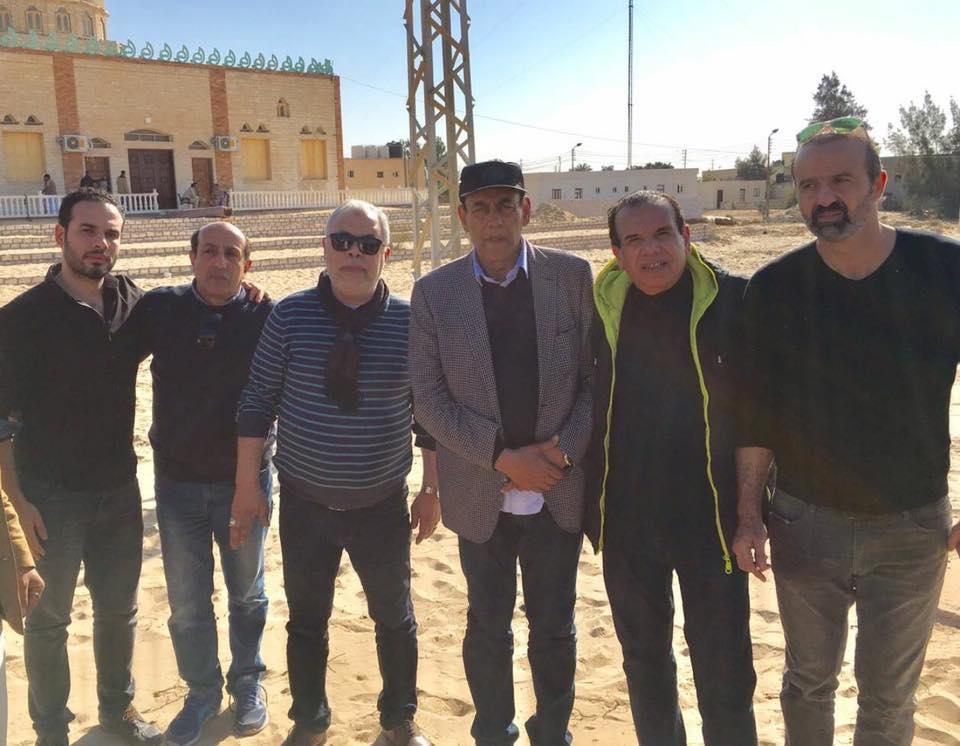 أشرف زكى وأحمد بدير فى مسجد الروضة بشمال سيناء