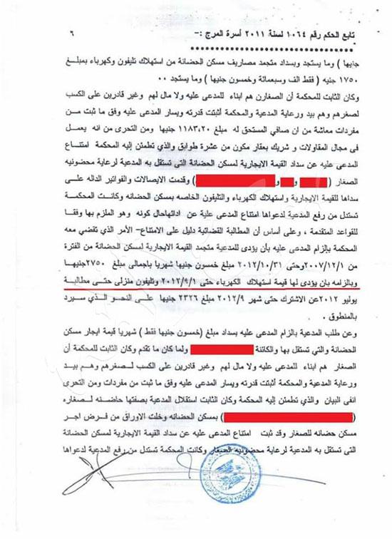 حيثيات أول حكم قضائي بإلزام الأب سداد فواتير الكهرباء والغاز عن مسكن الحضانة (7)