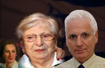 شولا كوهين مع نجلها السفير الاسرائيلي  اسحاق ليفانون