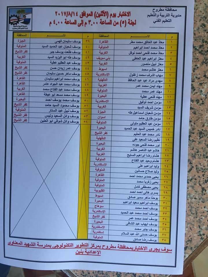 لجنة 5 اختبارات طلاب المحافظات للمدرسة النووية 14 أغسطس