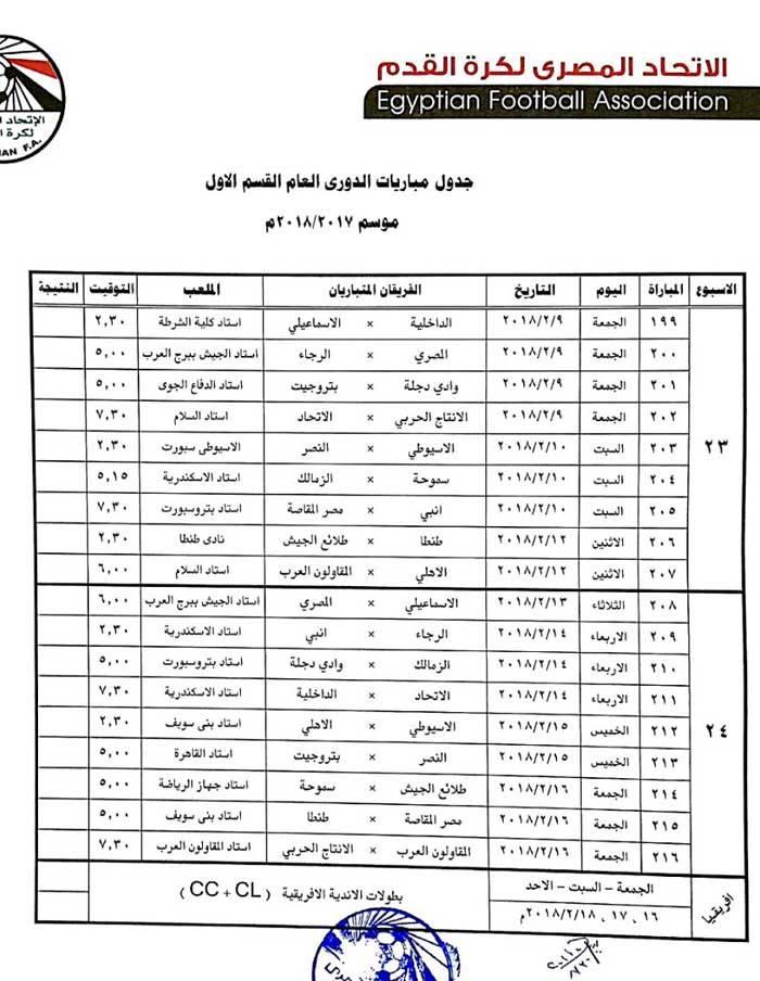 جدول الدورى 12