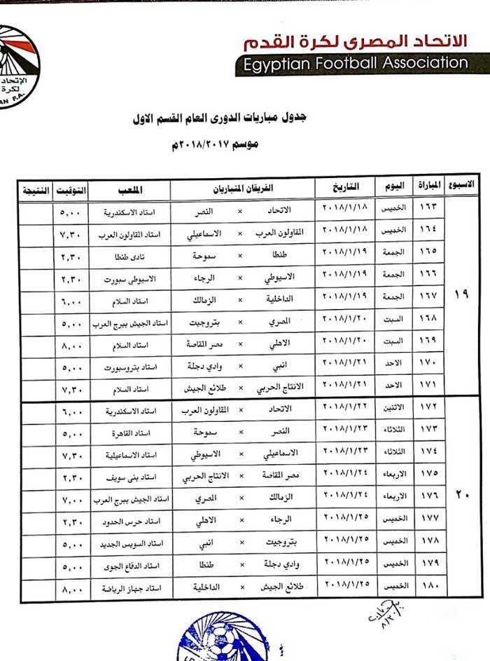جدول الدورى 10