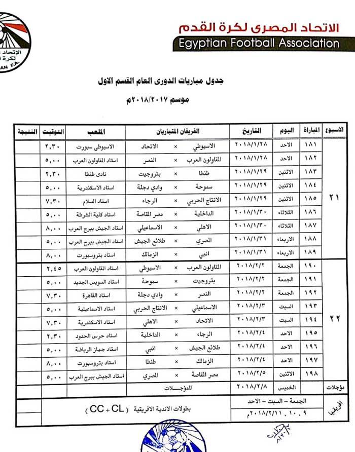 جدول الدورى 11