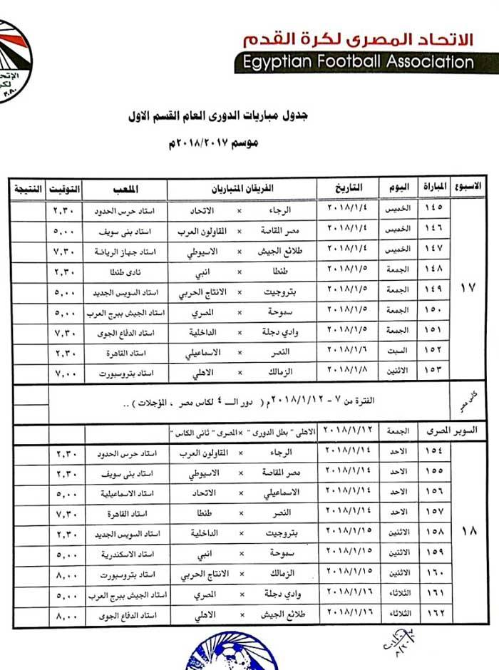 جدول الدورى 9