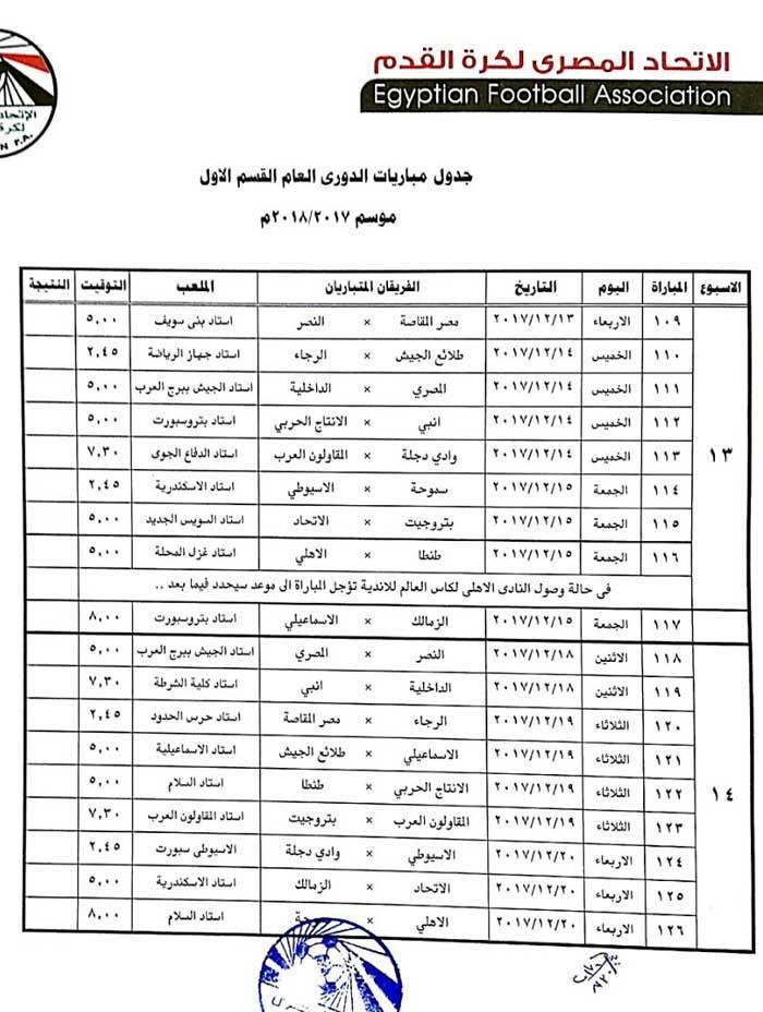 جدول الدورى 7