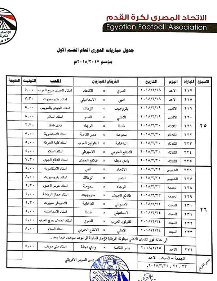 جدول الدورى 13