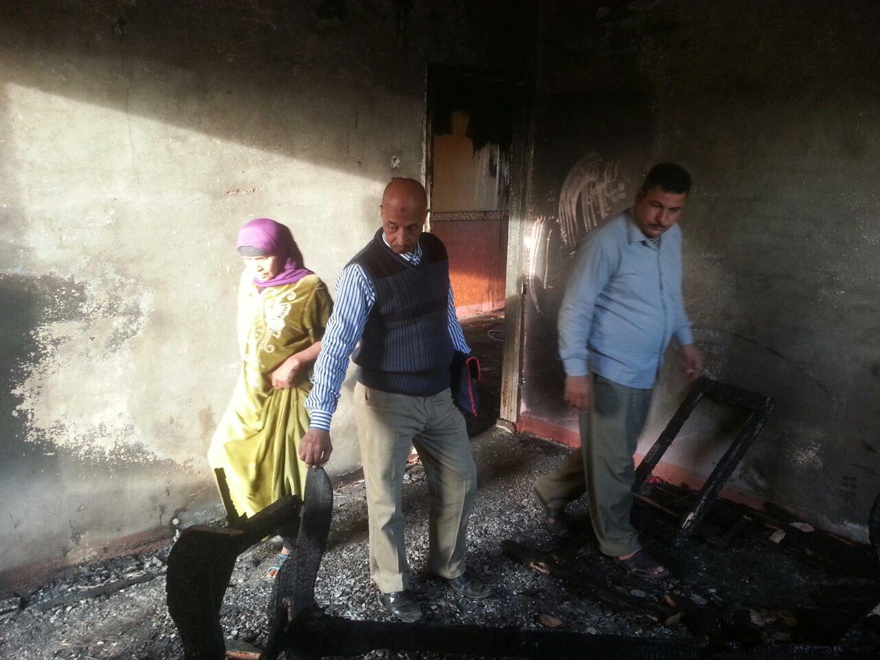 2- أثار الحريق بمنزل