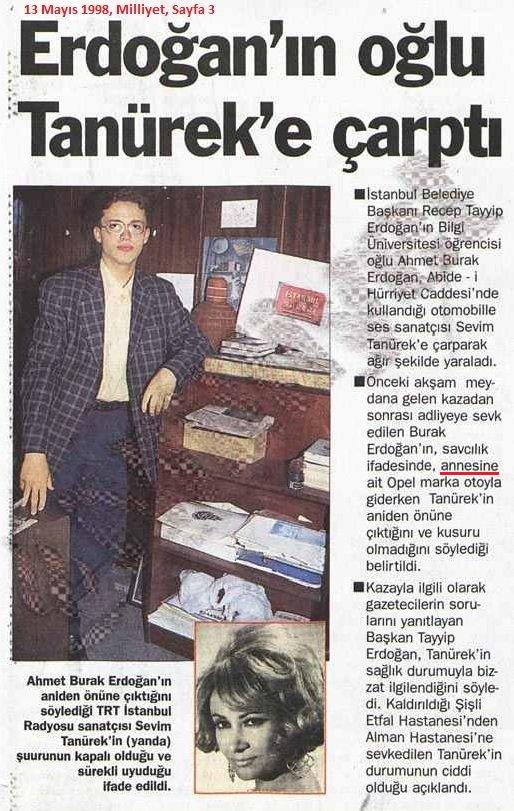 صحف تركية تتناول خبر اصطدام نجل اردوغان بسيارته الفنانة التركية