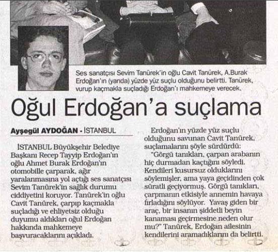 صحف تركية تتناول خبر اصطدام نجل اردوغان بسيارته الفنانة التركية.jpg 1