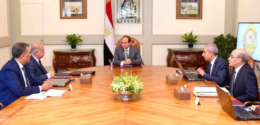 الرئيس السيسي ورئيس الوزراء ووزراء الزراعة والصناعة وقطاع الأعمال