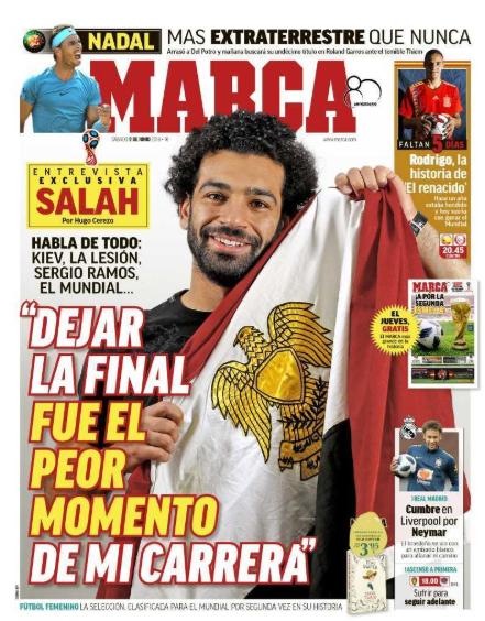 محمد صلاح يتصدر غلاف صحيفة ماركا الأسبانية