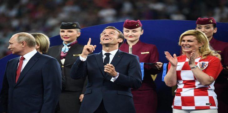 رئيسة كرواتيا وبوتين والرئيس الفرنسي