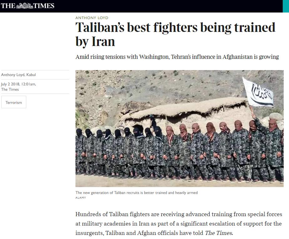 تقرير صحيفة التايمز البريطانية عن الدعم الإيران لحركة طالبان