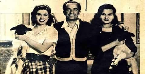 المخرج حسين فوزى مع نعيمة عاكف وصباح كواليس فيلم انا ستيتة