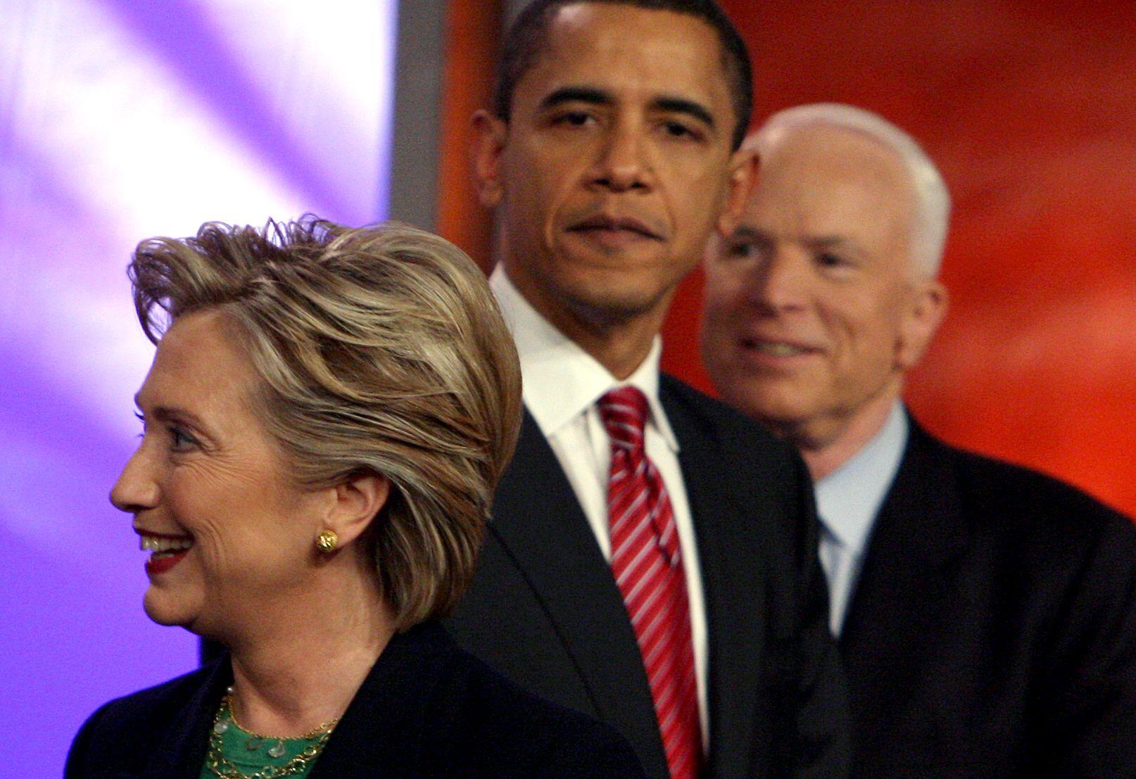 جون ماكين وأوباما وهيلارى كلينتون