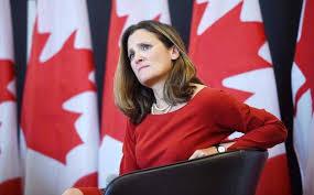 وزيرة الخارجية الكندية، كريستيا فريلاند