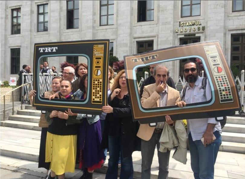 مظاهرة العاملين بالتلفزيون التركي