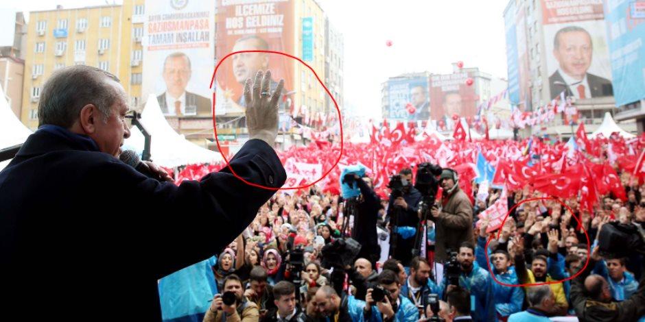 رجب طيب أردوغان.. الشيطان الذي اخترع شعار رابعة وفتح ذراعيه للإرهابيين