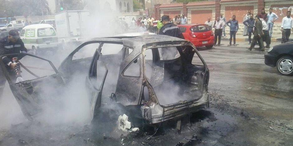 السيطرة على حريق سيارتين بطريق الإسكندرية الصحراوي