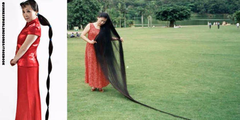 امرأة صينية تسعى لدخول موسوعة جينس بكونها صاحبة أطول شعر فى العالم