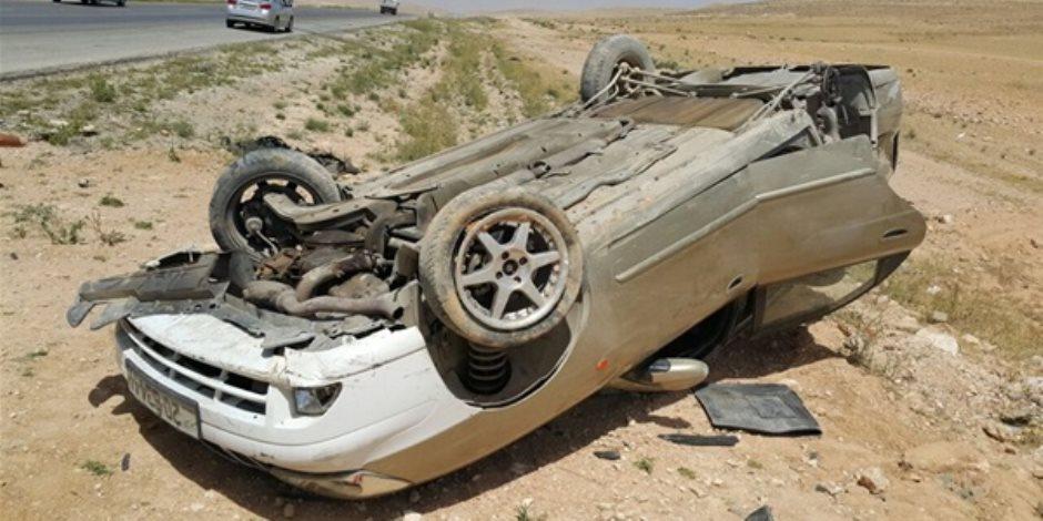 مصرع وإصابة 4 في انقلاب سيارة بطريق السخنة