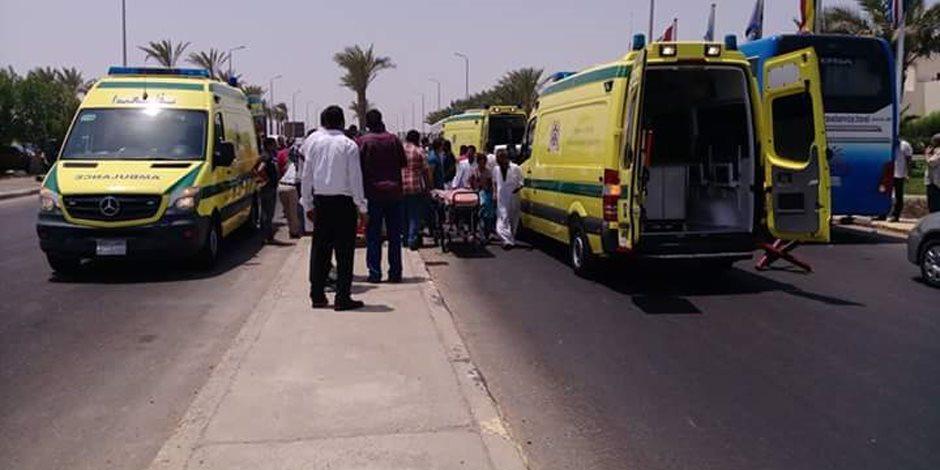 إصابة 13 شرطيا في حادث انقلاب ميكروباص بطريق الشيخ فضل بمركز بني مزار المنيا
