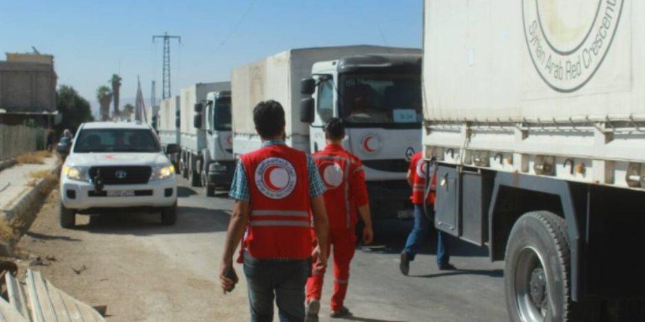 مساعدات إنسانية مشتركة.. الهلال الأحمر والأمم المتحدة يدعما سكان سوريا
