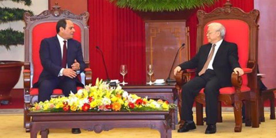 الرئيس السيسي يوجه الدعوة لرئيس الحزب الشيوعي الفيتنامي لزيارة القاهرة