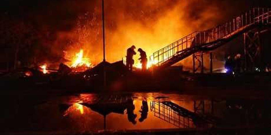 اندلاع حريق بسوق مدينة بيشاور الباكستانية