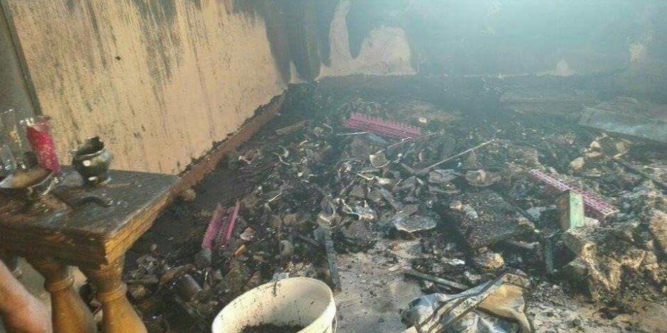 مصرع طفلين  اختناقا  اثر حريق بشقتهم في الخانكة.. بسبب انفجار شاشة التلفزيون ( صور )