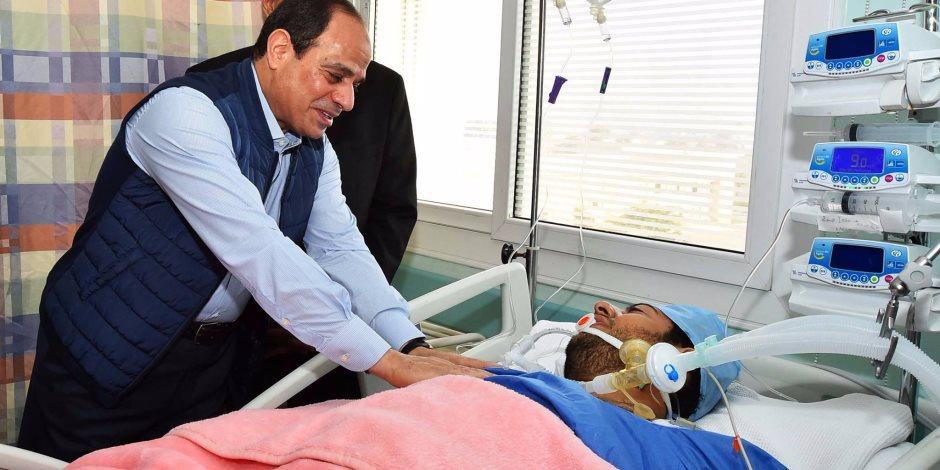 التليفزيون المصري يذيع فيديو زيارة السيسي لمحمد الحايس