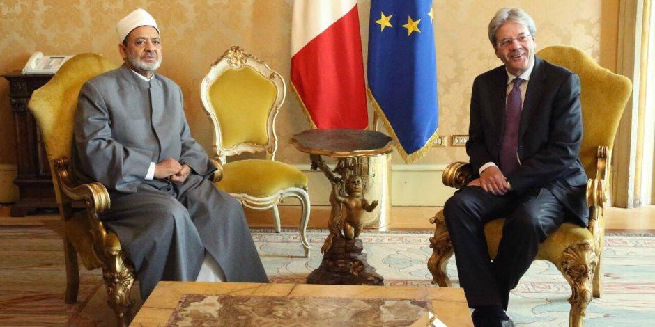 شيخ الأزهر لرئيس وزراء إيطاليا: عازمون على دحر الإرهاب وتجفيف منابعه