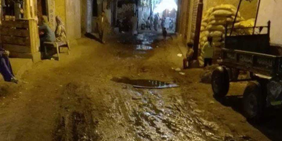 شوارع عزبة المجد في الرحمانية بحيرة غارقة بالمجاري.. والأهالي محبوسين في البيوت