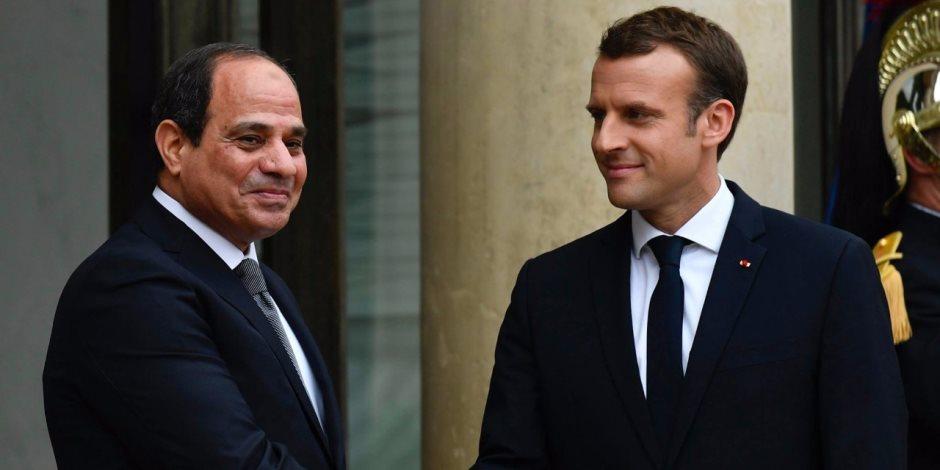 ماكرون للسيسي: نهنئكم على تجديد ثقة الشعب المصري فيكم بانتخابات الرئاسة