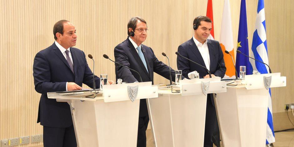 نص كلمة الرئيس السيسي فى القمة الثلاثية بقبرص (صور)