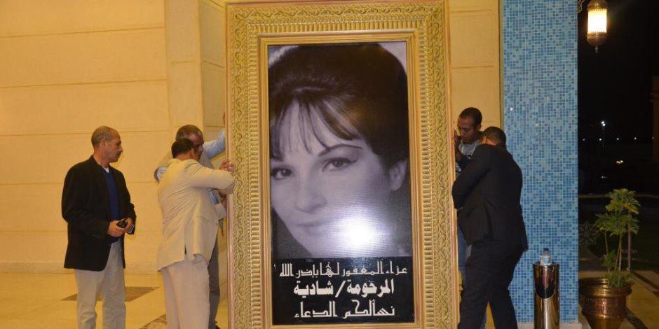 مكرم محمد أحمد ووائل الإبراشي يصلان عزاء الفنانة شادية