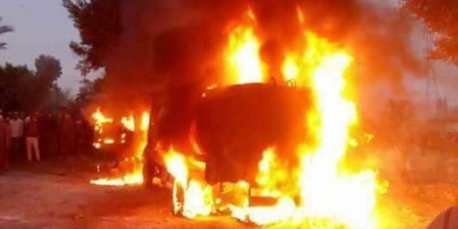 السيطرة على حريق سيارة فنطاس بكوم حمادة بالبحبرة (صور)