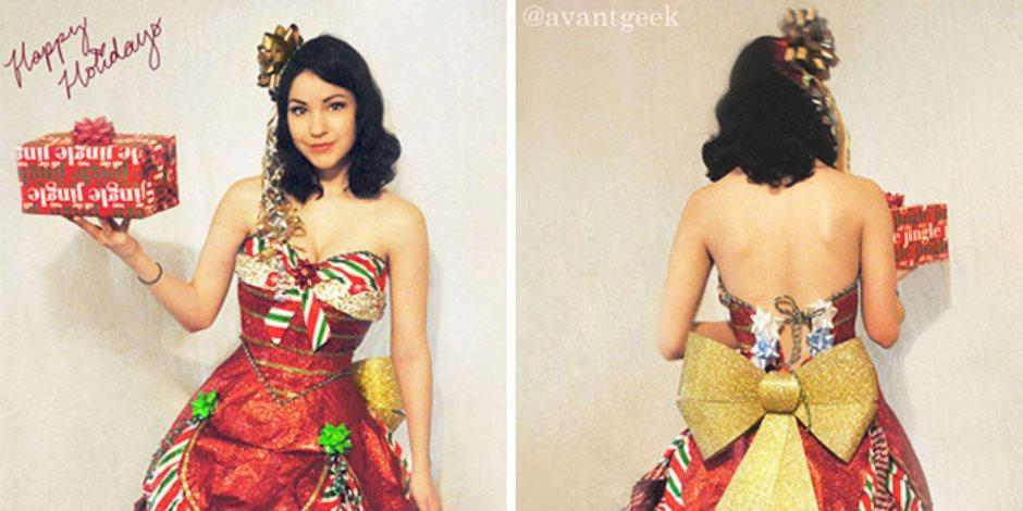 مصممة أزياء تصنع من ورق لف الهدايا فساتين جذابه للاحتفال بالكريسماس