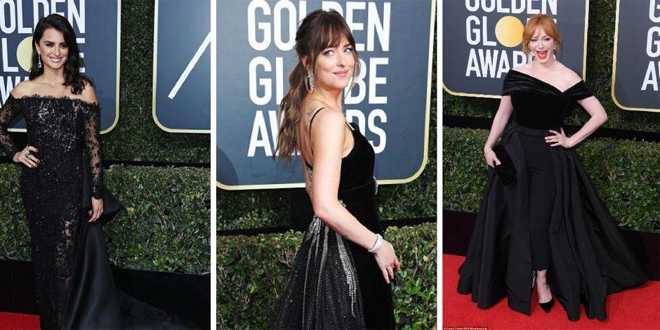 """طلي بالأسود.. نجمات هوليوود في """"Golden Globes"""" يرفعن شعار """"معاً ضد التحرش الجنسي"""" (صور)"""
