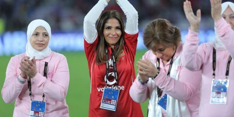 أول رد رسمي من المصري على دعم منى زكي للأهلي في مباراة السوبر