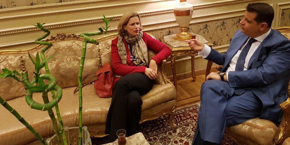 """""""خارجية النواب"""" لـسفيرة بلجيكا: مصر تسعي جاهدة لجذب الاستثمارات الأجنبية"""
