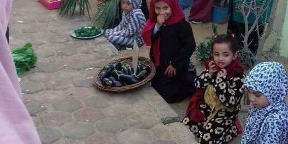 القصة الكاملة لتدريب تلاميذ رياض أطفال على بيع الخضار بالشرقية (صور)