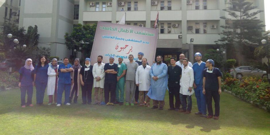 أول حالة ولادة لتوأم ملتصق بمستشفى الأطفال بجامعة المنصورة (صور)