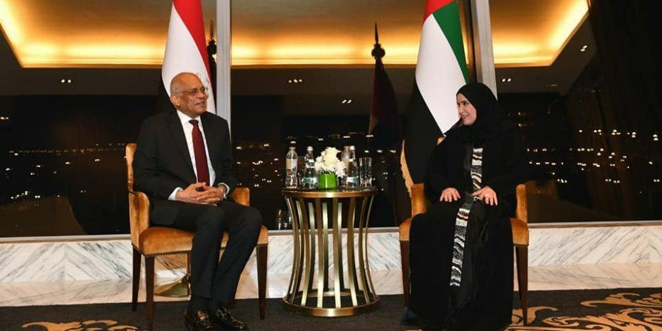 رئيس البرلمان يُشارك في اجتماع دولي لمكافحة الإرهاب الالكترونى بالامارات (صور)