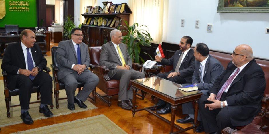 جامعة الإسكندرية تستقبل رئيس جامعة حمدان بن محمد بالإمارات