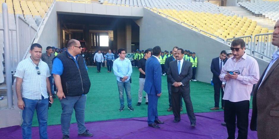 كوردون أمني قبل انطلاق مباراة الزمالك وسموحة في نهائي كأس مصر (صور)