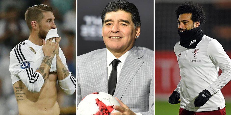 العدل أساس الكرة.. مارادونا يصدر عقوبة رادعة ضد راموس لتعمد إصابة محمد صلاح