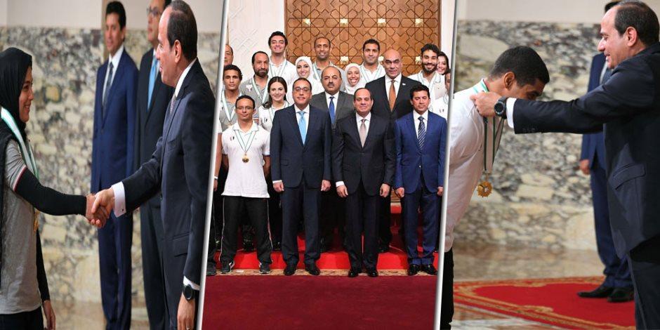 الرئيس يحقق الأمنية.. السيسي يكرم أبطال دورة ألعاب البحر المتوسط ( صور )