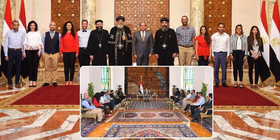 البابا وشباب الأرثوذكسية العالمية في حضرة الرئيس.. رسائل مهمة من السيسي للكنيسة